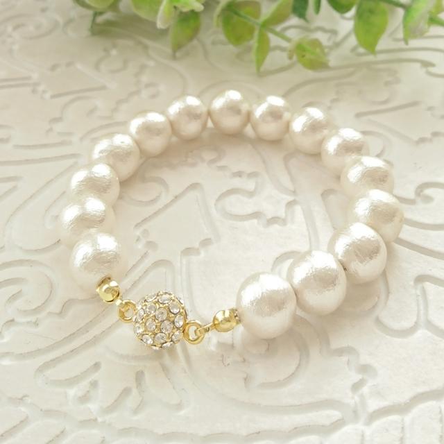 《再販》コットンパールの大人きれいなブレスレット *ホワイト