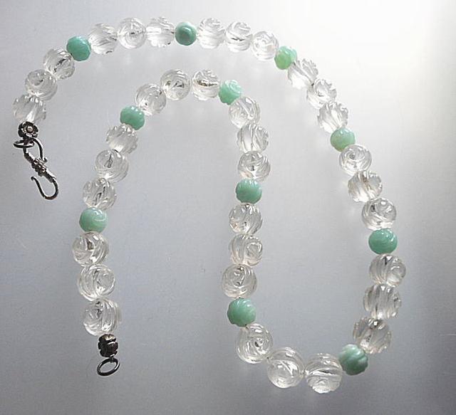 水晶とアマゾナイト玉のネックレス*清...