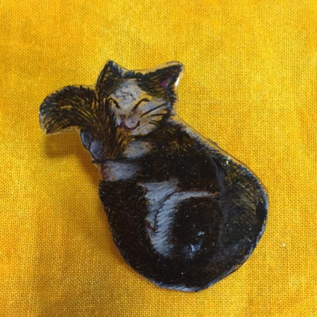 シッポに抱きついて眠るハチワレ猫のブ...