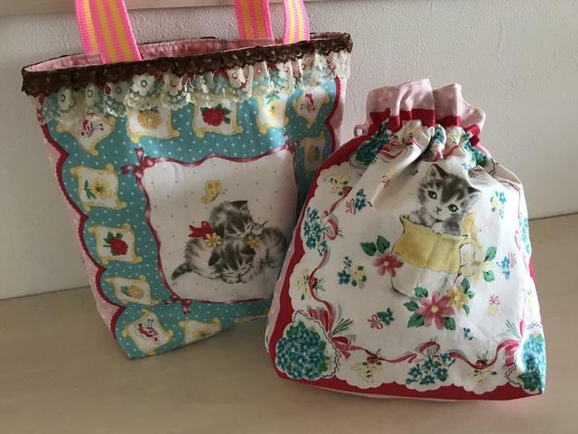 〈再発売♪〉子猫のバッグと巾着のセットA
