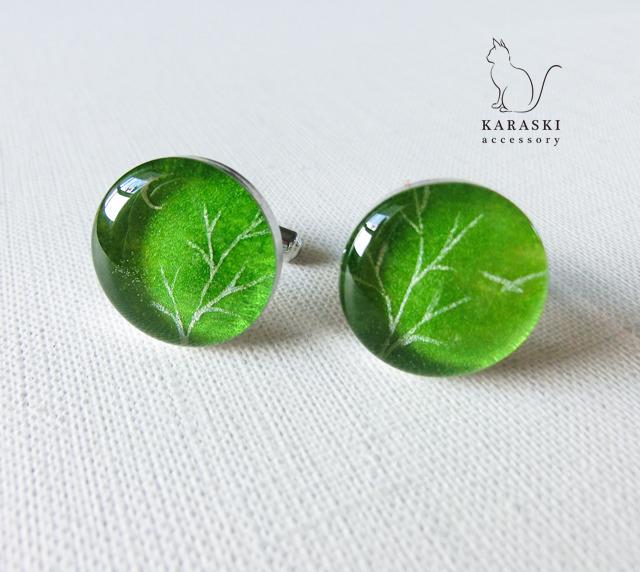 カフス058/銀の木