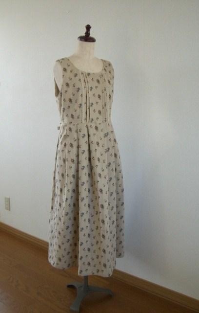 綿麻Wガーゼのジャンパースカート (M)☆ ベージュ
