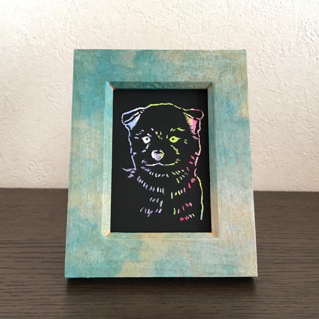 ミニフレーム 柴犬 レインボーアート 原画