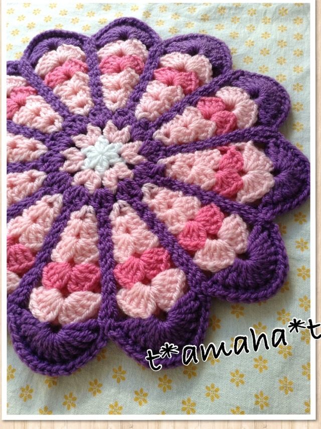 お花の座布団☆ピンクAND紫**送料無料
