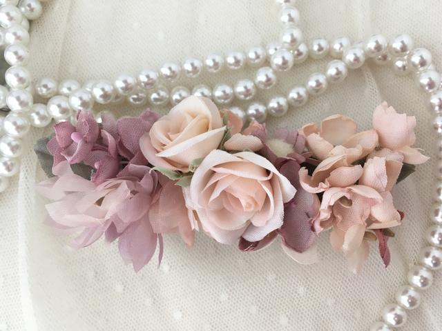 Rose&elegant flowersバレッタ pink