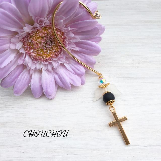天使の羽根と十字架のイヤーカフ