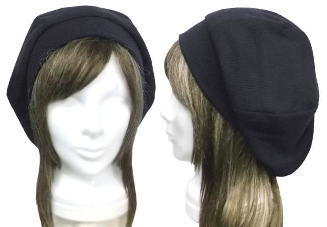変り織コットンニット/リブ付ベレー帽(...