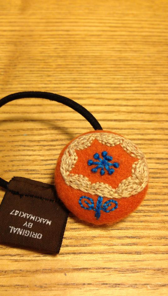 北欧お花刺繍ヘアゴムa