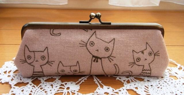 あったか猫さんのペン・メガネケース*ピンク