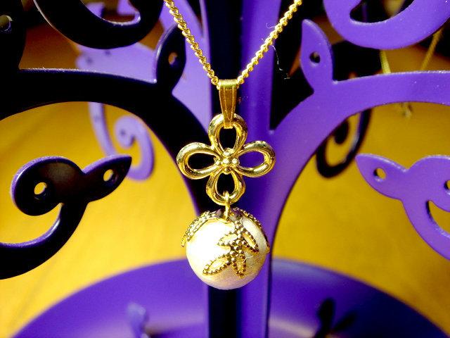 コットンパールと透かし座金のネックレス(ゴールド)