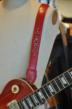 ギターストラップ赤 スタッズ