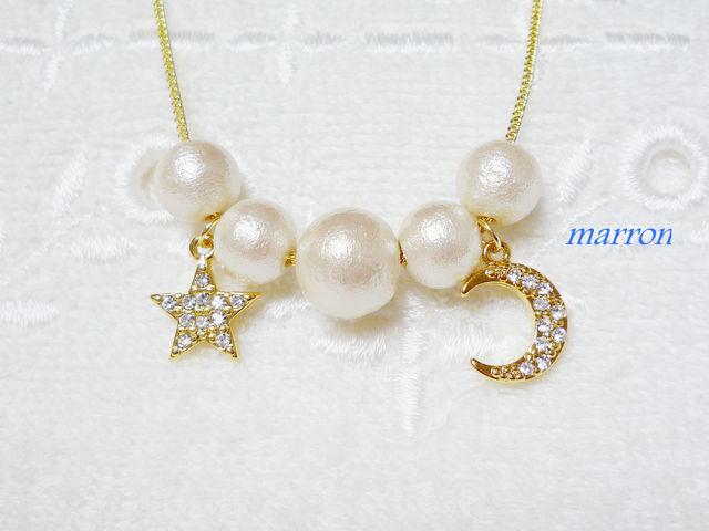 ?swing moon&starコットンパールネックレス??