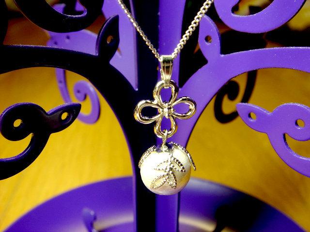 コットンパールと透かし座金のネックレス(シルバー)