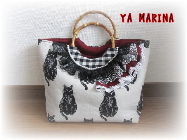 渋可愛い黒猫柄の竹ハンドルトートバッグ