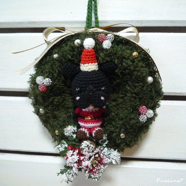 フレブルサンタのクリスマスリース(ブリンドル)