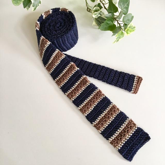 秋色シックな手編みのボーダーニットタ...