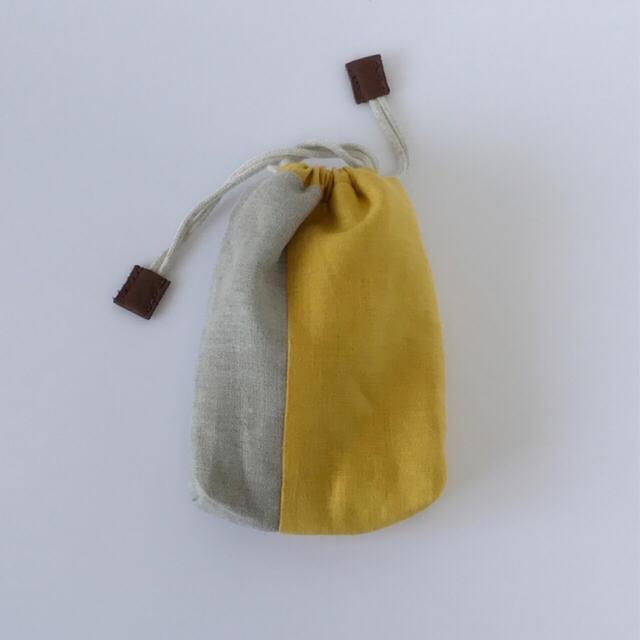 リネンの巾着(beige×yellow)