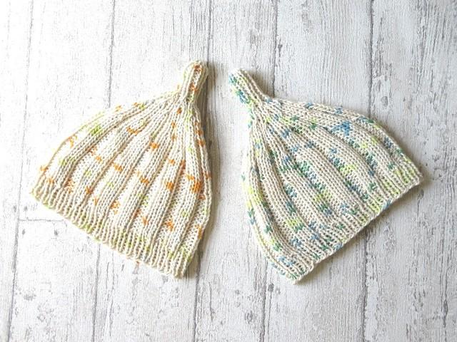 カスリ模様が可愛い?ゴム編みとんがり帽...