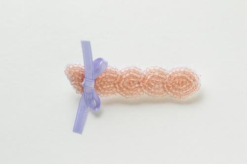 乙女の三つ編みブローチ pink