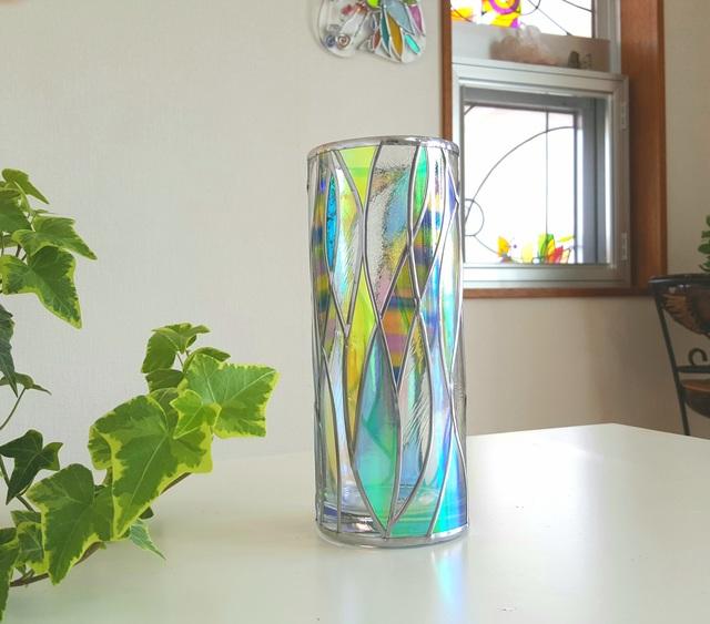 再販 ガラス円形花瓶『光のシャワー2』