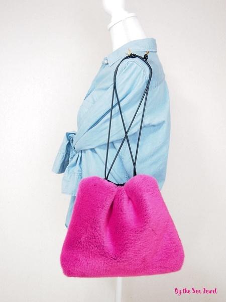 エコファー ショルダー 巾着 バッグ