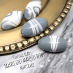 marble grey marquise beads ~4pcs〜
