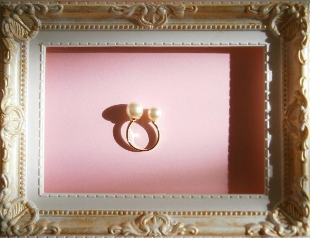 キスカ・カラーのパールの指輪(フリー・サイズ)