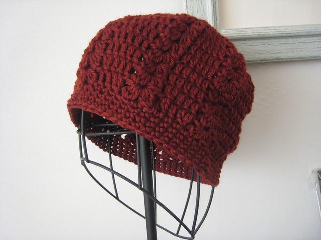 ほっこりニット帽 ボルドー