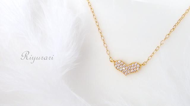 Tiny heart CZ necklace