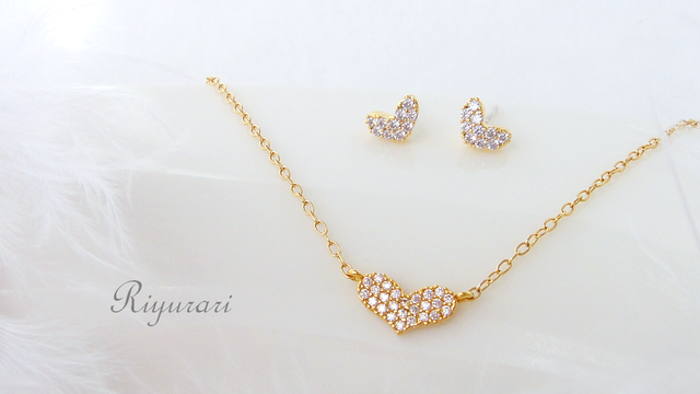 Tiny heart CZ pierce & necklace