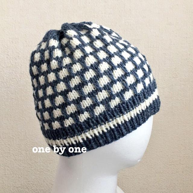 ニット帽(紺×白)
