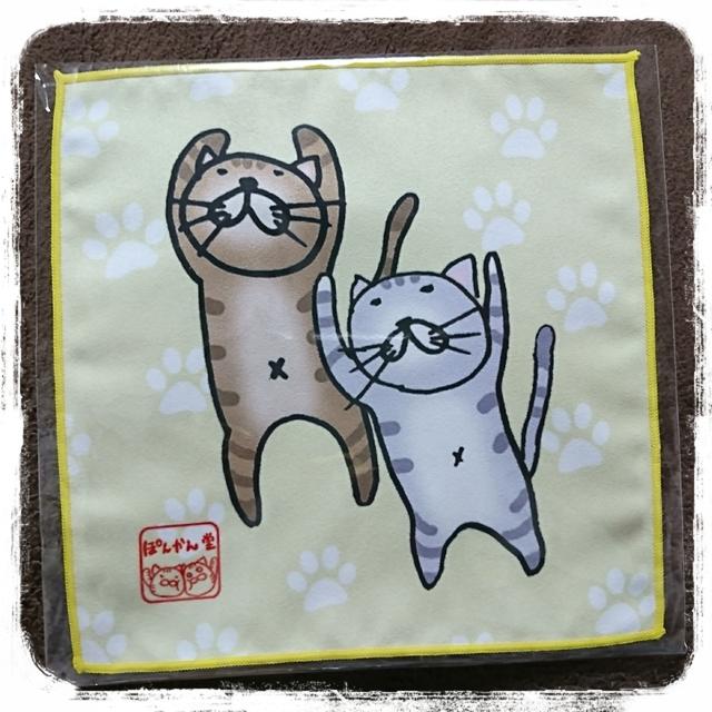 サバトラ&キジトラ ぽんかん兄妹猫ハンカチ