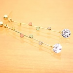 *14kgf*彩*虹色水滴*ピアス【金】colorful drops & a cubic zirconia earrings