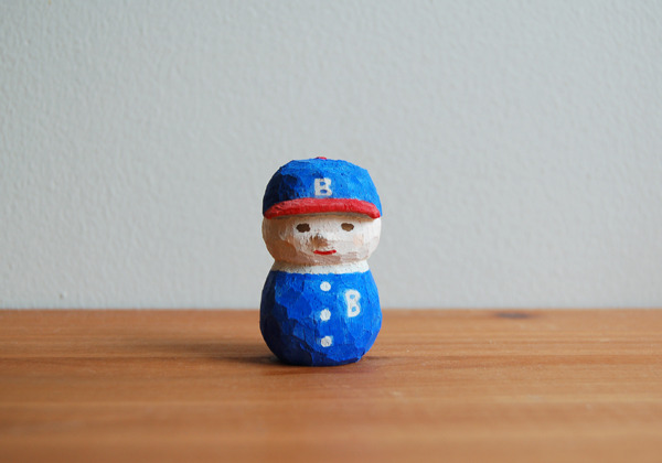 木彫り人形 ベースボールキャップ少年  [MWF-011]