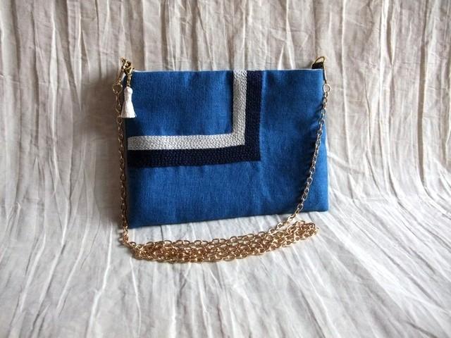 itoiro mini pochette (blue-n/w)