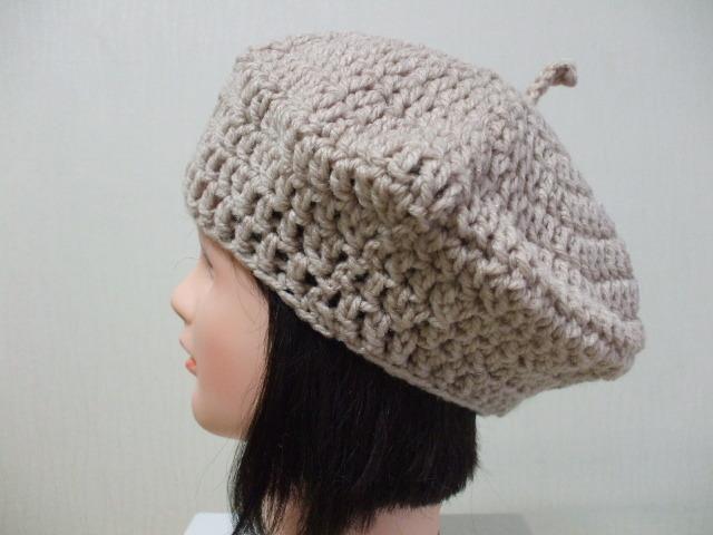 ハンドメイドベレー帽 成人女性用 ベージュ アクリル100%