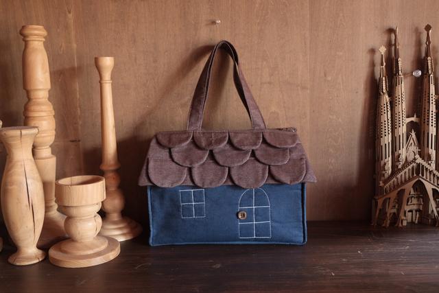 OUCHI box bag L  brown&blue