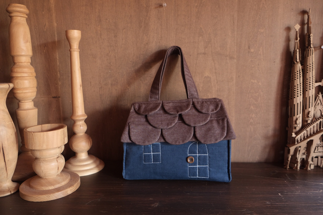 OUCHI box bag S  brown&blue