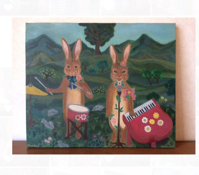 油絵原画「丘に響く音楽」