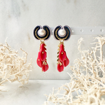 red petal earring レッドストーン&淡水パール