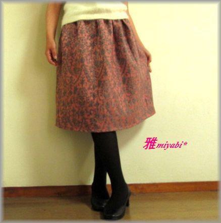 新作裏付 ピンク系タック入大人可愛いウール着物スカート