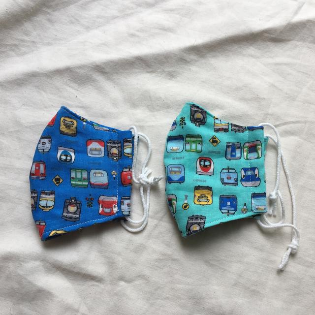 子供用4重ガーゼ立体マスク2枚セット#電車