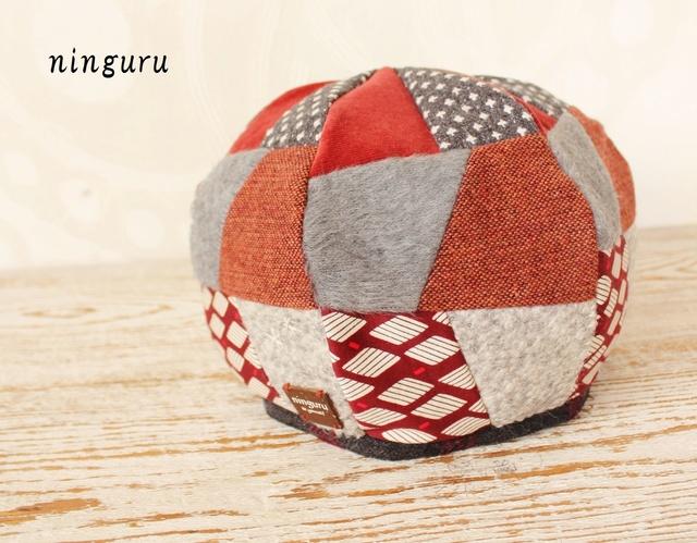 グレー×赤のふんわり ベレー帽(NO.2)