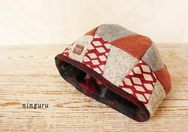 グレー×赤のふんわり ベレー帽(NO.1)