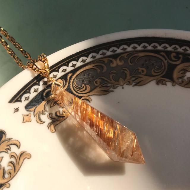 天然石 金針水晶 ネックレス
