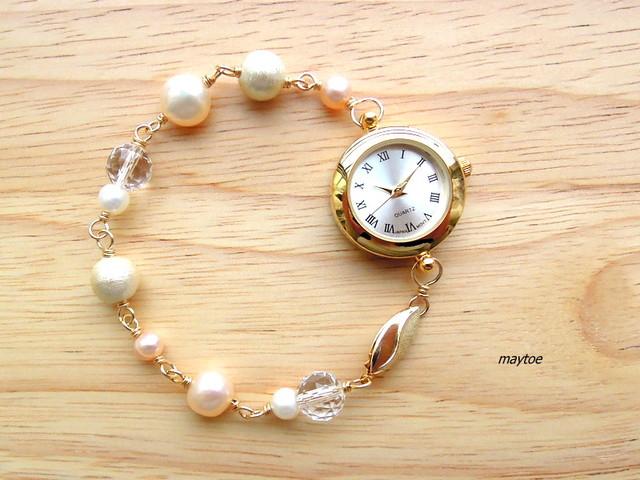 パール*14kgfジュエリー腕時計
