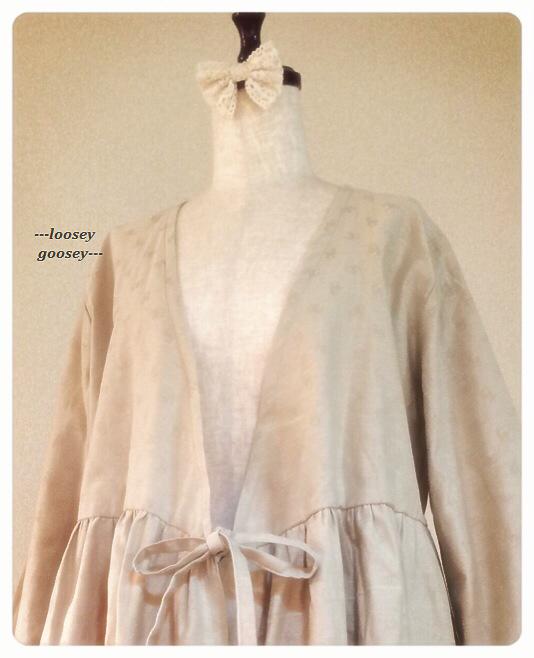 鹿柄*リボン結びのカシュクール羽織りワンピース/ナチュラルベージュ