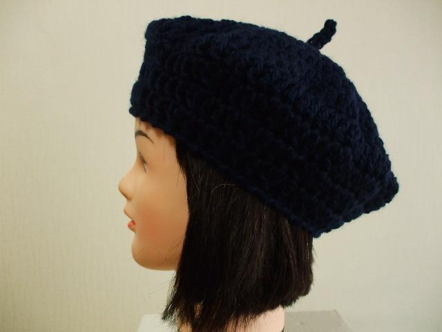 ニットベレー帽 成人女性用 紺
