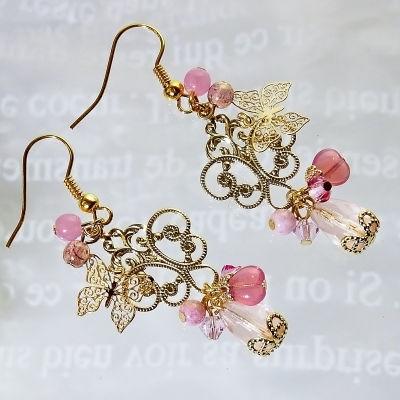 再販■空森■ピアス☆チェコとスワロの華やかピアス(ピンク)
