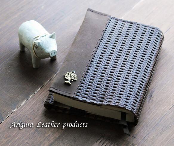 革 レザー文庫用ビターチョコ色(A6)ブックカバー12
